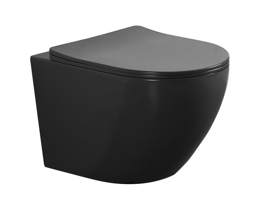 Matt black color wall hung toilet