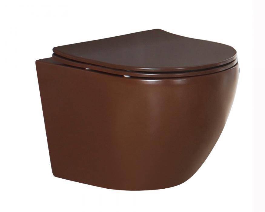 Matt brown color wall hung toilet