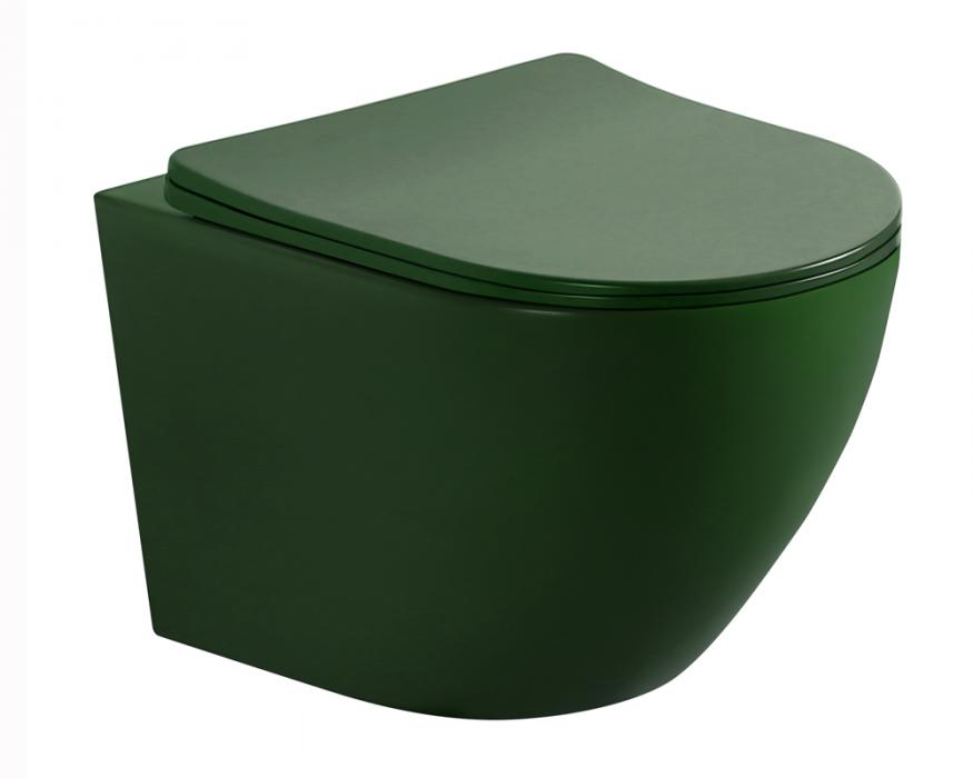 Matt dark green color wall hung toilet