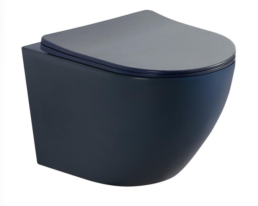 Matt dark blue color wall hung toilet