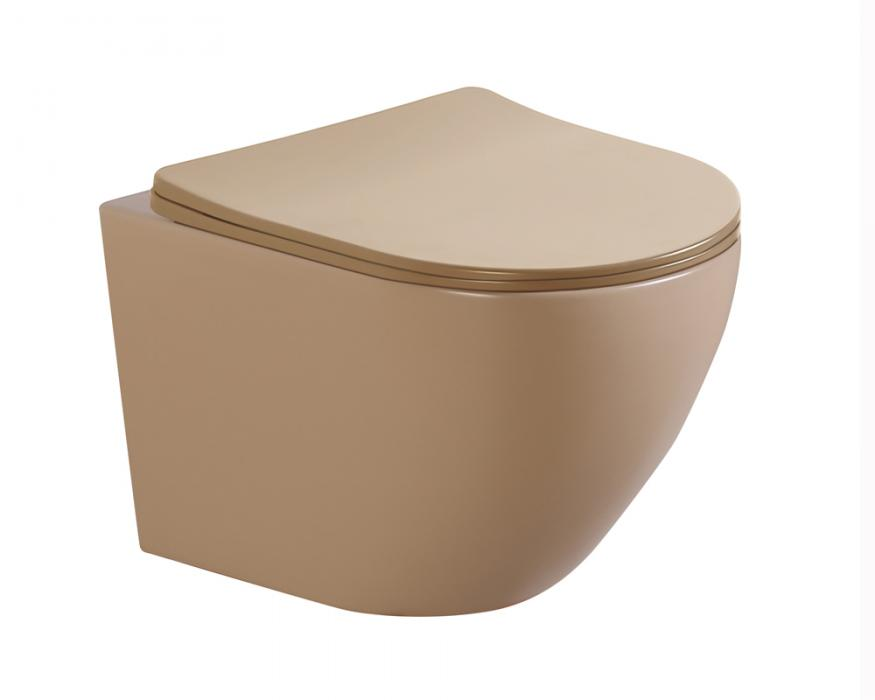 beige matt color wall hung toilet