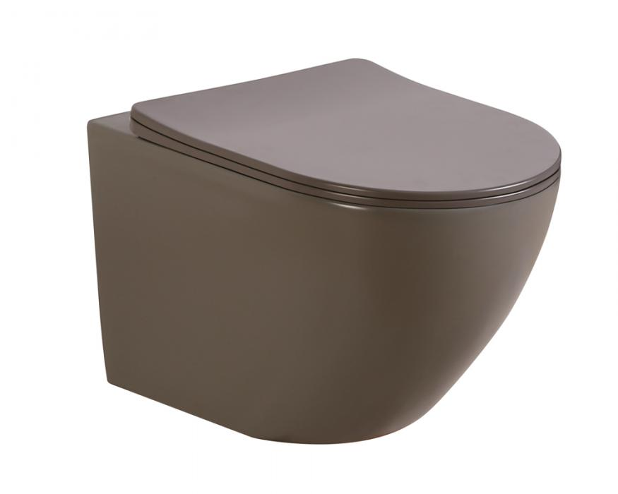 Matt dark grey color wall hung toilet