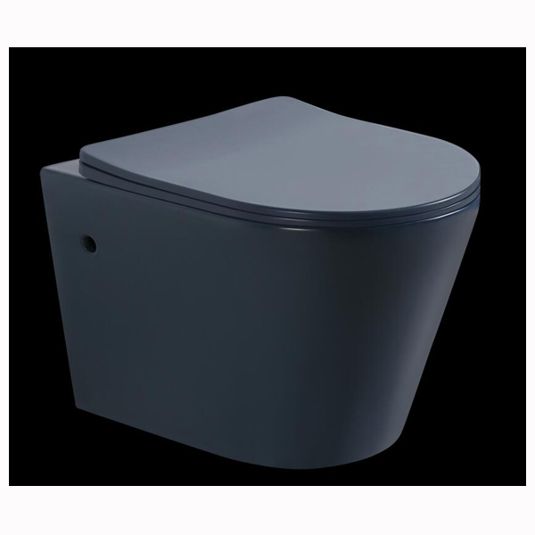 Matt blue color wall hung toilet
