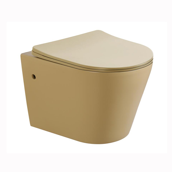 Dark beige matt color wall hung toilet